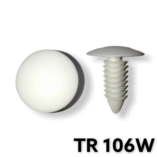 "TR106W - 100 or 500 / White Shield Retainer (1/4"" Hole)"